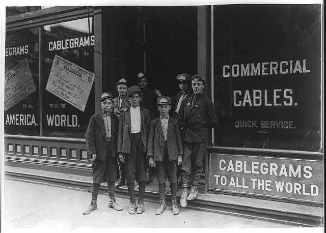 Postal Telegraph Messengers, Indianapolis, (Indiana has no age limit for mes'grs.)  Location: Indianapolis, Indiana.