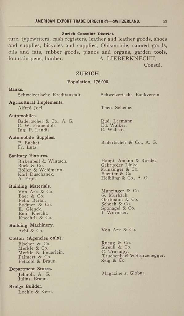 Practical suggestions for the development of American export trade, with directories of the chief cities of Switzerland