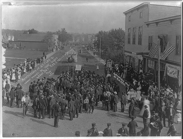 Presentation of U.S. flag to Labor Unions by I.O.O.F Lodge. Labor Day. Red Granite, Wisc.