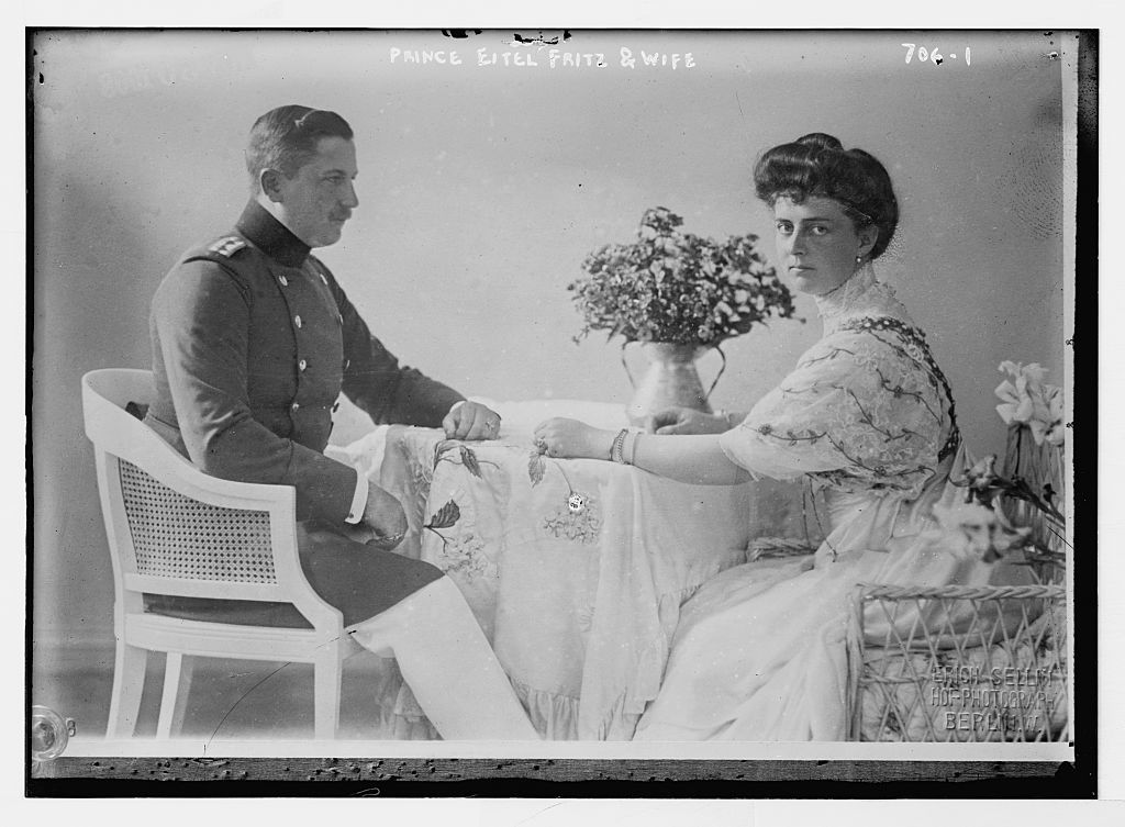 Prince Eitel Fritz and wife, seated at table