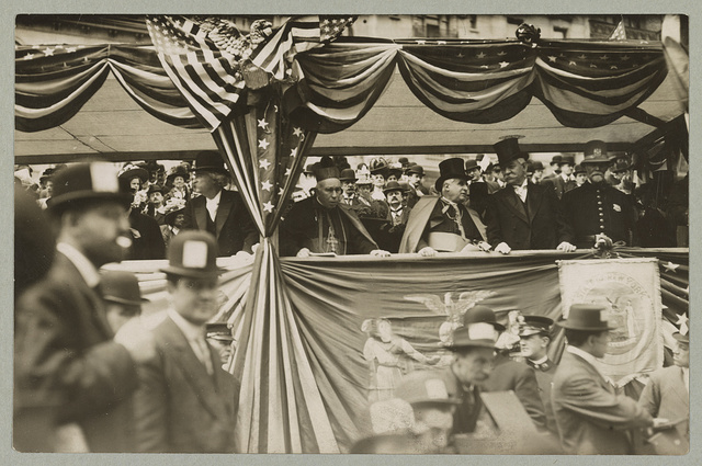 Reviewing stand - Samuel Clemens, Cardinal Louge, Archbishop Farley and James Farley, oldest policemen in parade of 1908