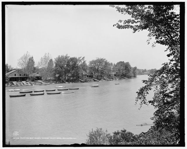River and boat houses, Genesee Valley Park, Rochester, N.Y.