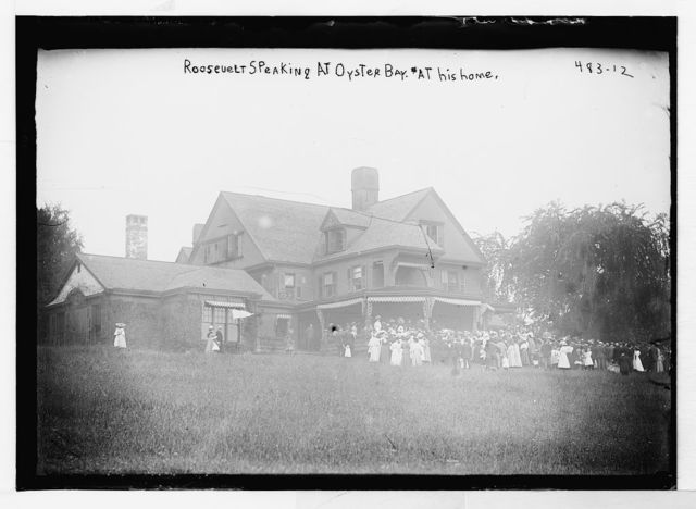 Roosevelt speaking at Oyster Bay, at his home, New York