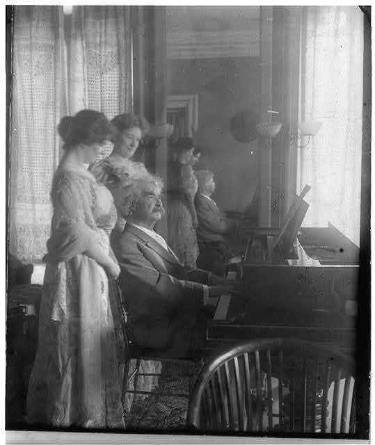 Samuel Clemens with Clara Clemens and her friend Miss Marie Nichols