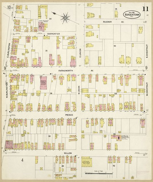 Sanborn Fire Insurance Map from Bordentown, Burlington County, New Jersey.