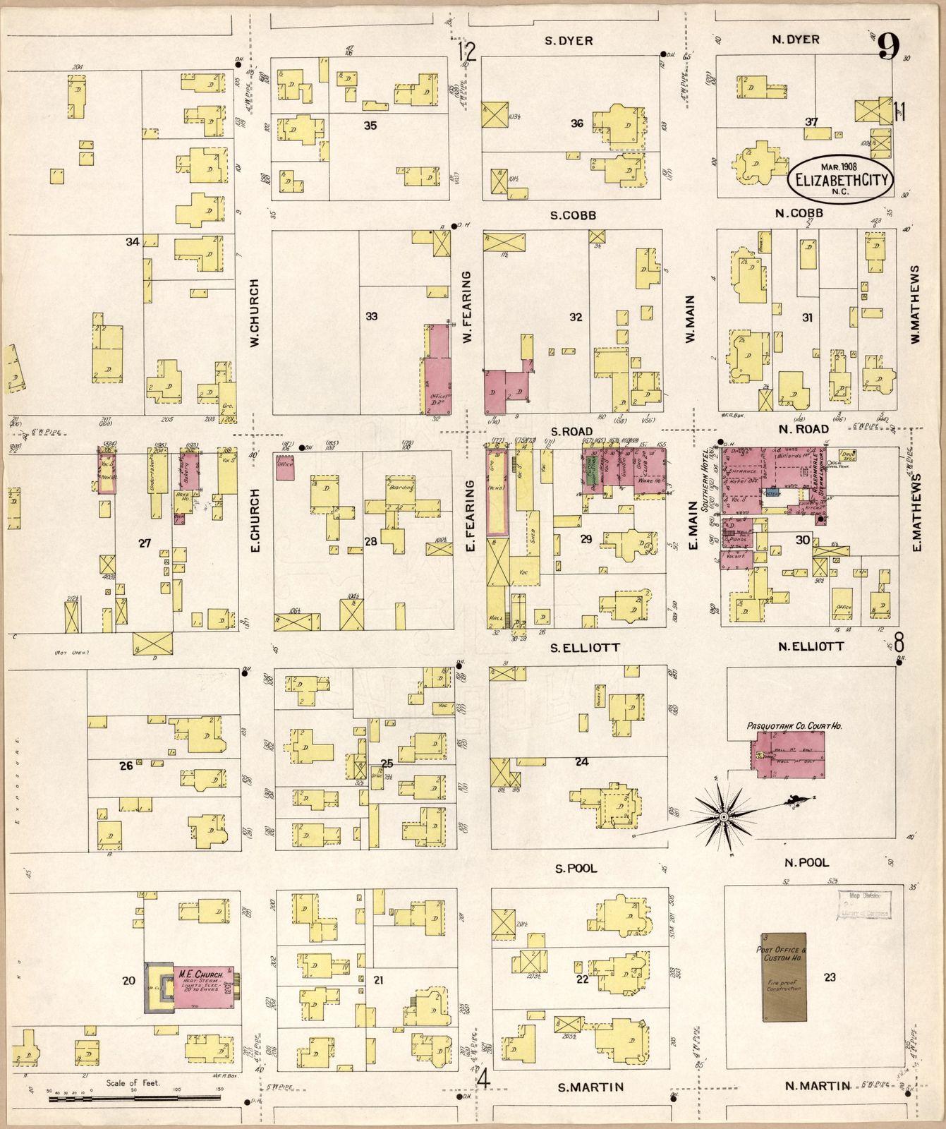 Sanborn Fire Insurance Map from Elizabeth City, Pasquotank County, North Carolina.