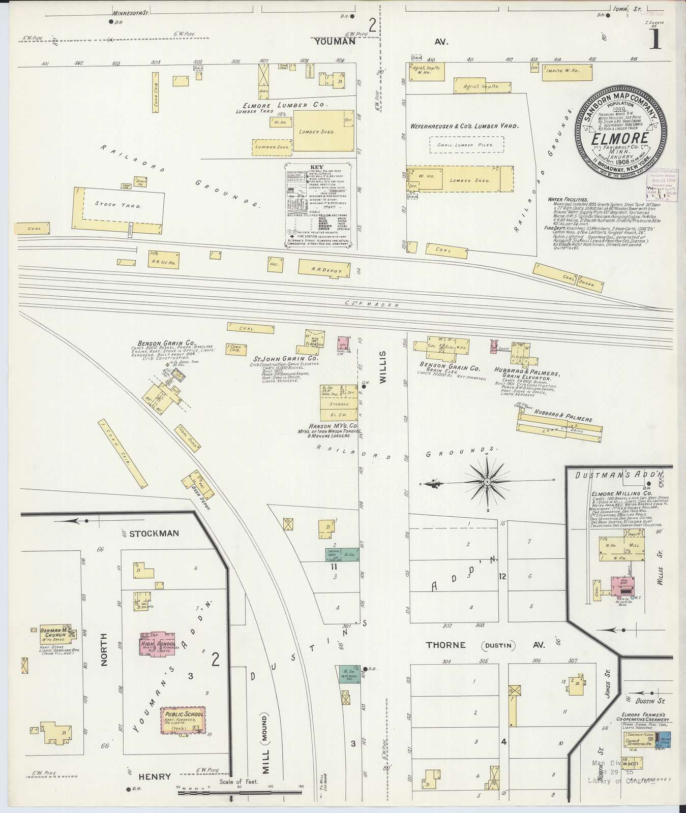 Sanborn Fire Insurance Map from Elmore, Faribault County, Minnesota