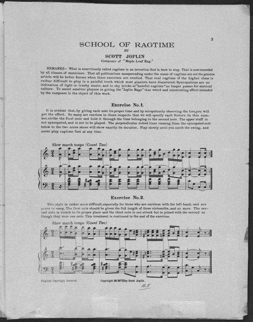 School of ragtime: six exercises for piano