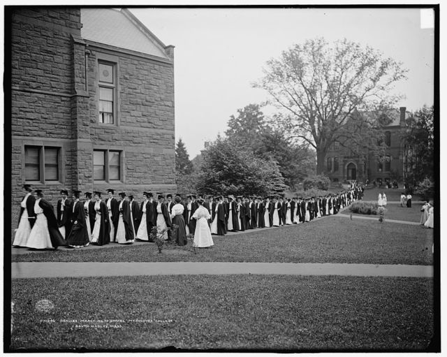 Seniors marching to chapel, Mt. [Mount] Holyoke College, South Hadley, Mass.