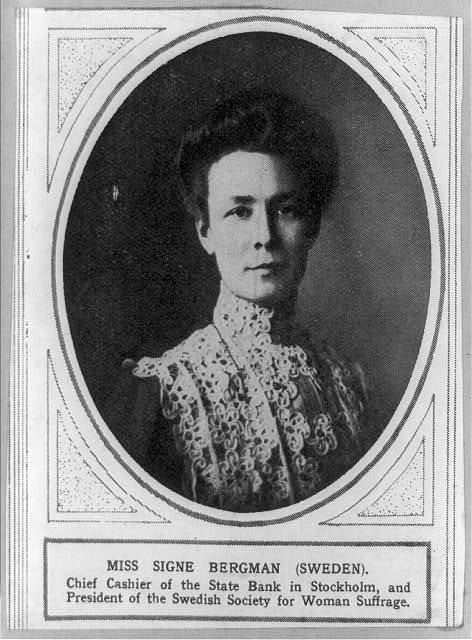 [Signe Bergman, President of the Swedish Society for Woman Suffrage, head-and-shoulders portrait, facing right]