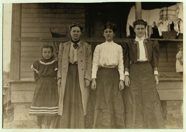 "Some operatives--Dillon Mill, Dillon, S.C. Smallest girl said she ""helps.""  Location: Dillon, South Carolina."