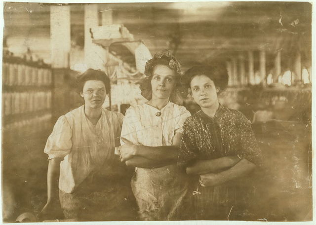 Some operatives in An Indianapolis Cotton Mill at the Noon Hour. Aug., 1908. Wit., E. N. Clopper. Location: Indianapolis, Indiana. / Photo by [...]