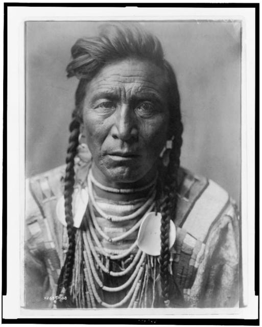 [Strike On his Head, Crow Indian, Montana, head-and-shoulders portrait, facing front, loose forelock, braids, beaded buckskin shirt, beads and two large shell disks around neck]
