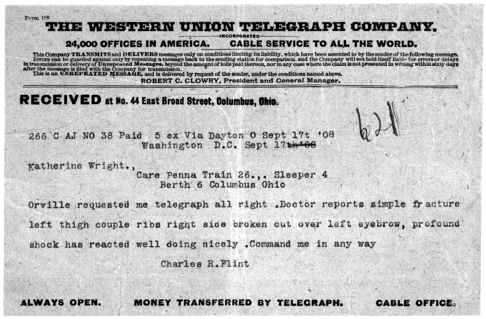 Subject File:  Foreign Business--Agents and Representatives--Flint & Co., September 1908