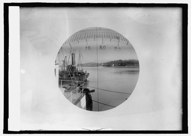 Submarine view through periscope