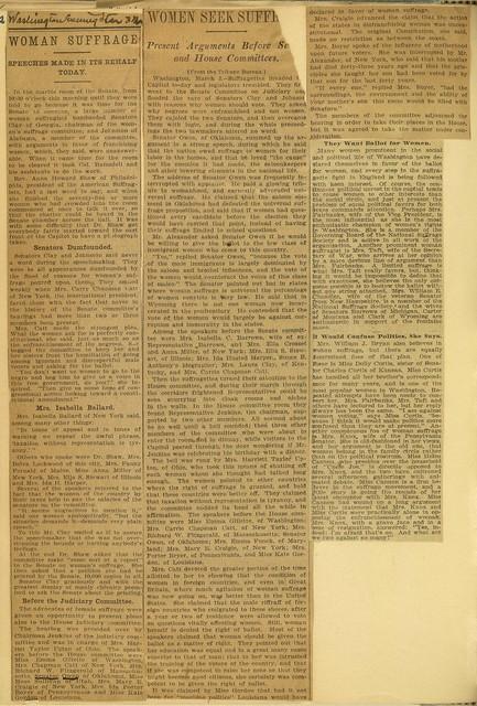 Suffrage Speeches Made to U. S. Senate