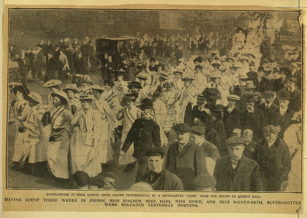 Suffragettes procession after release from prison