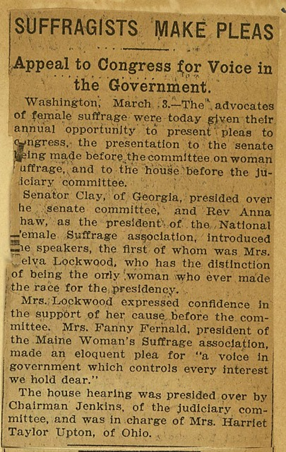 Suffragists Make Pleas at Congressional hearings on suffrage amendment