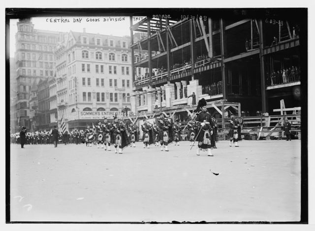 Taft Parade, Central Dry Goods Div., with bagpipes, New York