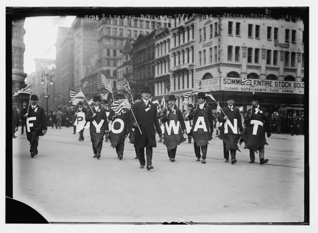 Taft Parade, Hide & Leather Div., Jackson, Marshal, with flags, New York
