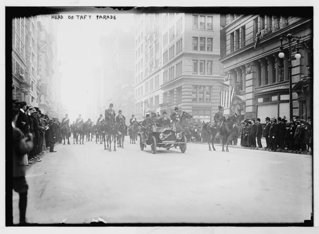 Taft Parade, leading auto and equestrians, New York