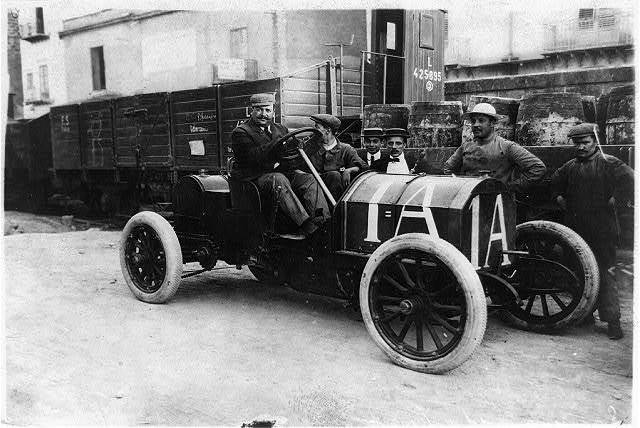Targa-Florio race in Italy, May 18, 1908 - Lancia in Fiat -- record 8 hrs., 2 min., 40 sec.