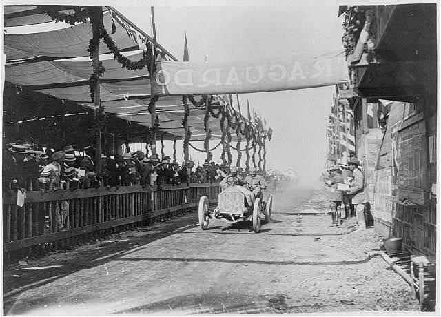 Targa-Florio race in Italy, May 18, 1908. Porporato finishing fourth in a Berliet