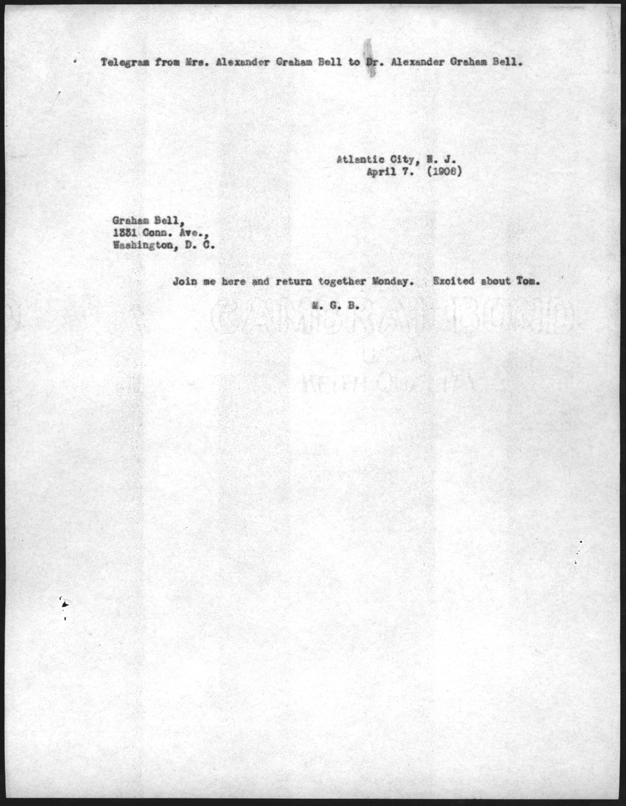 Telegram from Mabel Hubbard Bell to Alexander Graham Bell, April 7