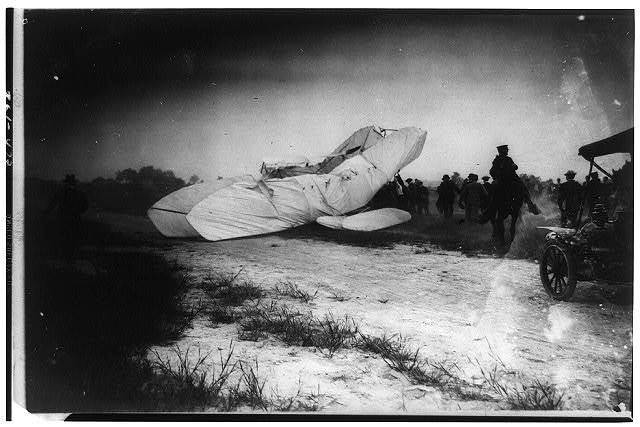 The collapsed Wright airplane photographed just after it struck the ground...