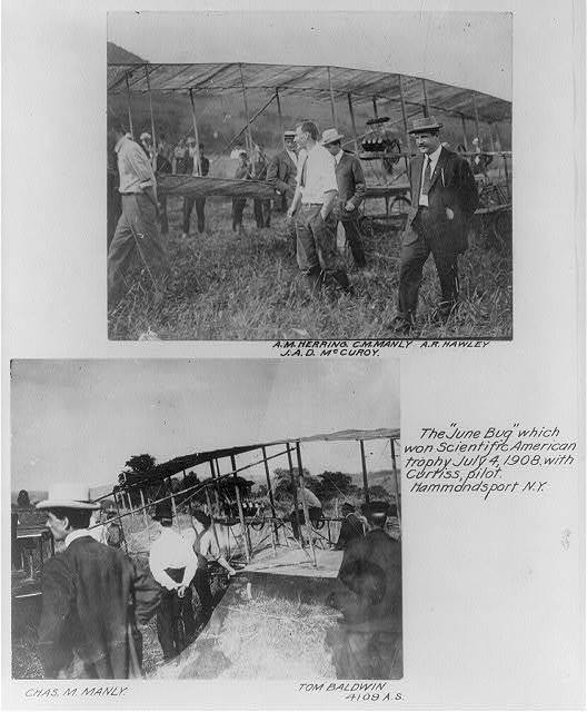 The JUNE BUG which won Scientific American trophy, July 4, 1908, with Curtiss, pilot. Hammondsport, N.Y