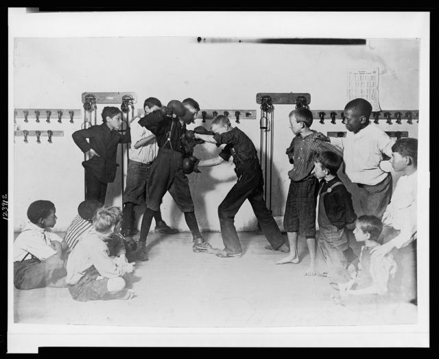 "The ""Manly art of self-defense"" Newsboys' Protective Association.  Location: Cincinnati, Ohio."