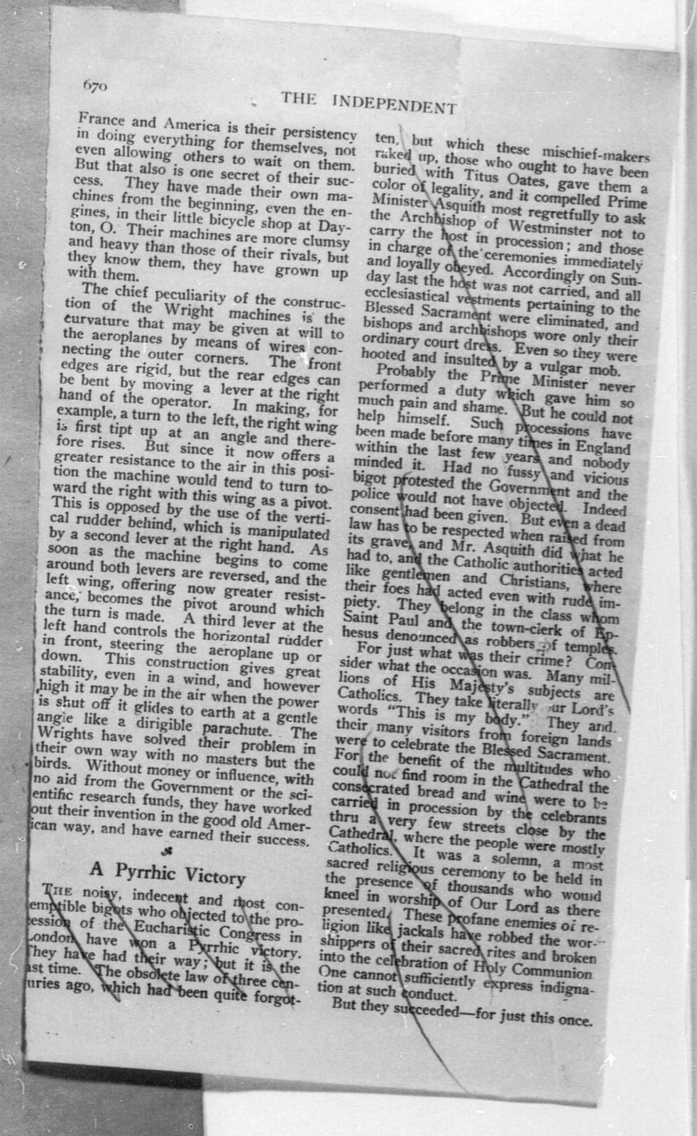 The Wright Brothers [editorial, Independent, 17 September 1908]