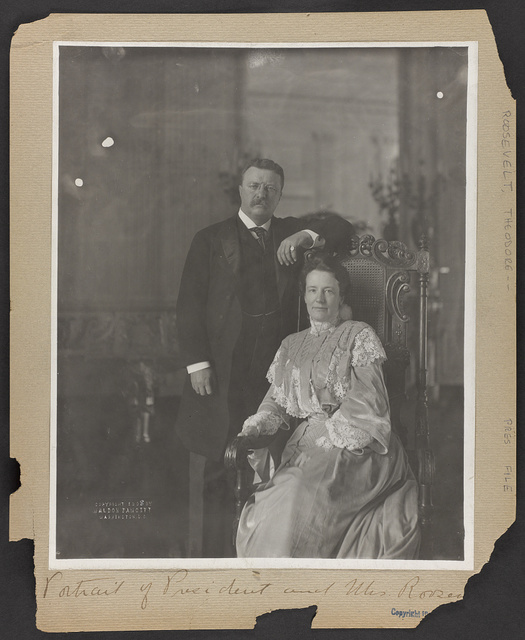 [Theodore Roosevelt, three-quarter length portrait, standing, facing right; alongside his wife, seated]