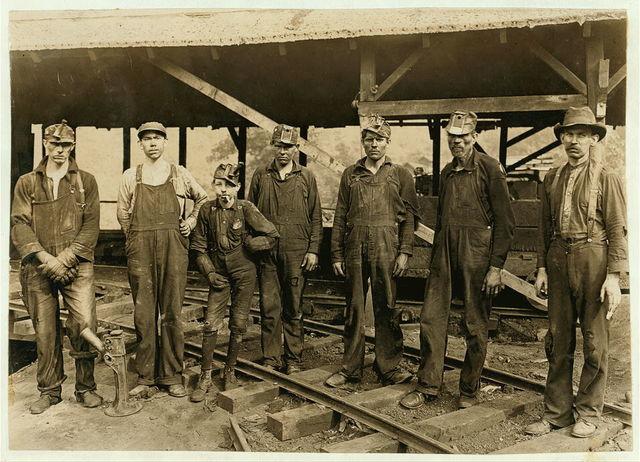 Tipple Crew, (see photo #146) Turkey Knob Mine, Macdonald, W. Va. Oct. 1908 Witness E. N. Clopper.  Location: MacDonald, West Virginia / Photo by Lewis W. Hine.