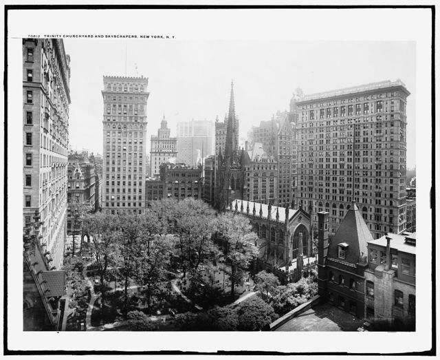 Trinity churchyard and skyscrapers, New York, N.Y.