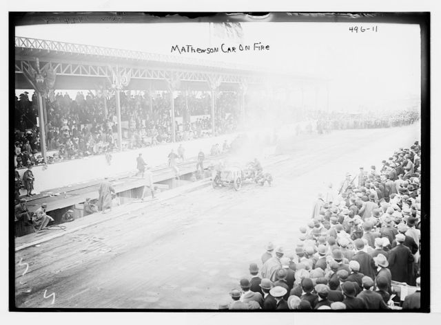 Vanderbilt Cup Auto Race, Mathewson car on fire on track