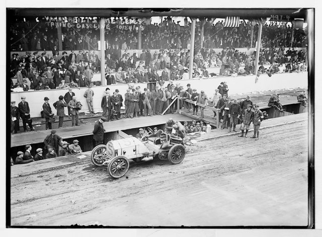 "Vanderbilt Cup Auto Race, W.K. Vanderbilt Jr's ""Mercedes"" receiving gas on track"