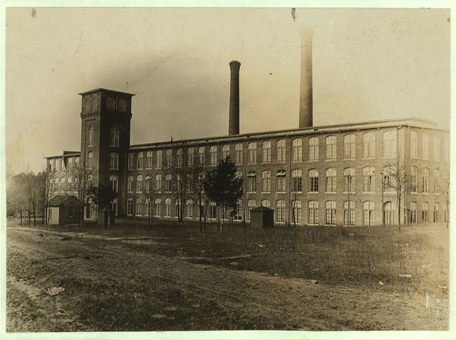 View of Clinton Mills (S.C.) Superintendent would not allow me to take photos in mill. Many youngsters employed. See photos Nos. 359 and 375. Dec. 2, 1908. Witness, Sara R. Hine.  Location: Clinton, South Carolina / Photo by Lewis W. Hine.