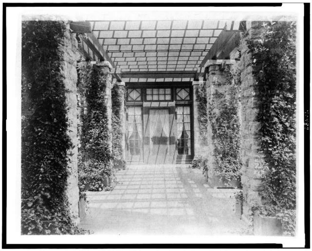 [View of pergola, toward door, to home of Edmund Cogswell Converse, Greenwich, Connecticut]