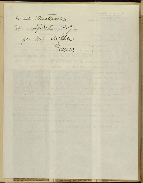 W. Smith O'Brien, Geneva City Attorney, to Anne F. Miller, about Geneva Political Equality Club meeting at his home, November 30, 1908