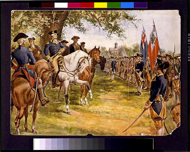 [Washington taking command of the American army under the old elm at Cambridge] / Merrill(?).