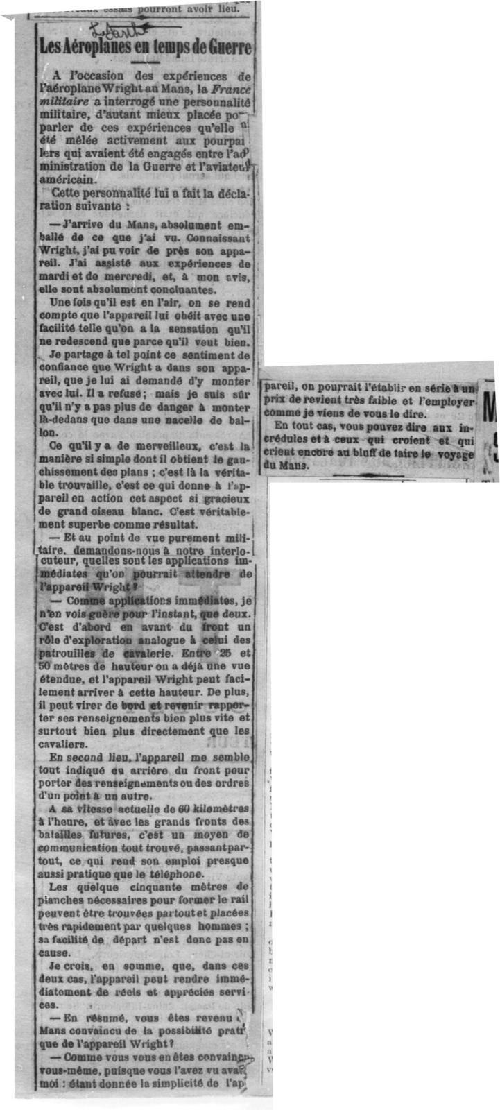 Wilbur Wright a repris hier ses experiences [Echo de Paris, 22 August 1908]
