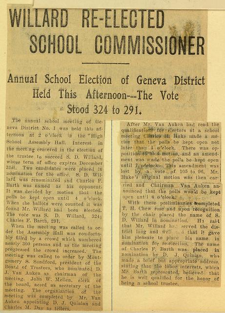 Willard Re-Elected School Commissioner