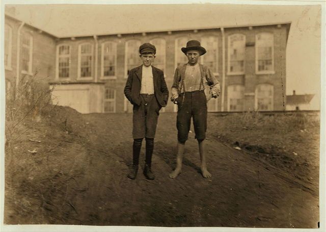 """Willie Crocker, (barefoot) Wylie Mill, Chester, S.C. 13 years old-- """"worked since I was 6 years old."""" Lost part of finger in gear of machinery. Fred Crocker--11 years old. 1 year in mill.  Location: Chester, South Carolina."""