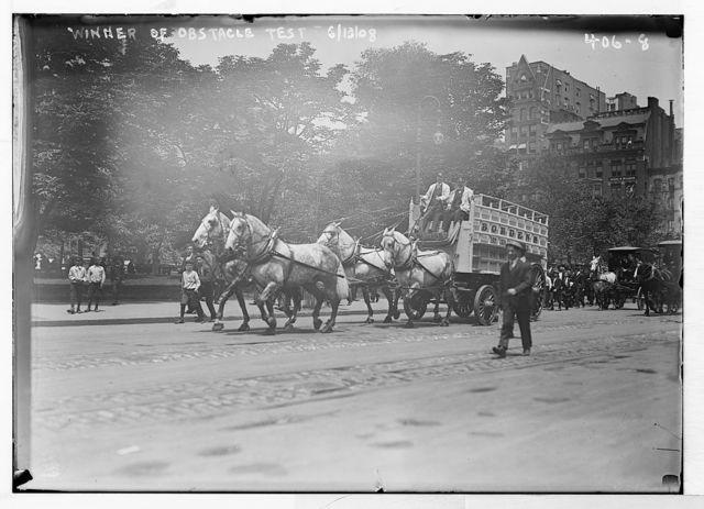 Work Horse Parade, Borden Team, winner of obstacle test, New York