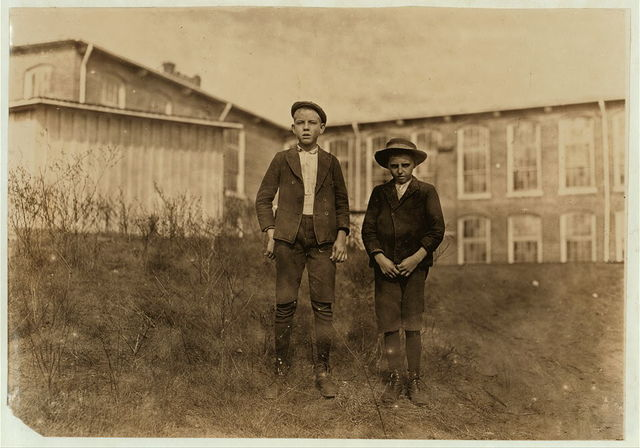 """Wylie Mill, Chester, S.C. Tommy Ashville, (smaller boy) 2 years in mill. """"Specks I'm about 11."""" Arthur Shelly, 8 years in mill. 14 years old. Other boys agreed he had been in mill 8 years.  Location: Chester, South Carolina."""