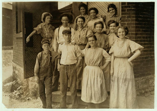 Young People in An Indianapolis Cotton Mill, Noon, Aug., 1908. Wit., E. N. Clopper.  Location: Indianapolis, Indiana.