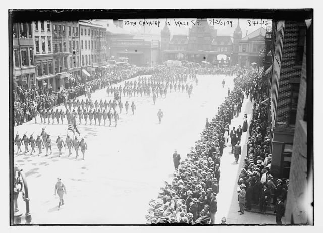 10th Calvary marching in parade on Wall St., New York