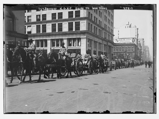 1st Battery, in carts and on horse-back, going to war game, New York