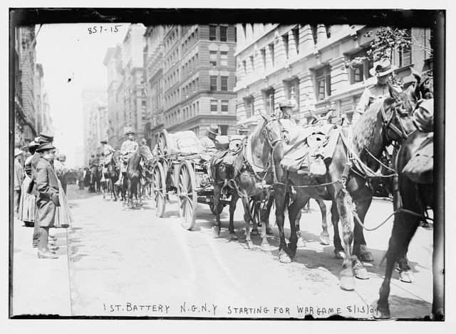 1st Battery, in carts and on horse-back, starting for war game, New York